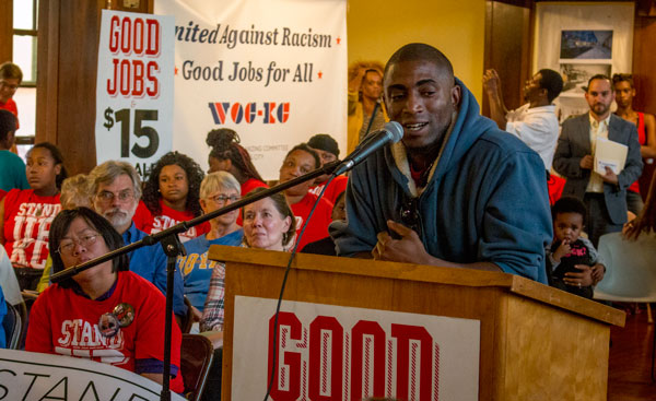 Kansas City fast food worker Terrence Wise, who met with President Obama this week, urged other workers at a rally last night to continue to fight for a minimum wage increase.