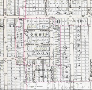 The same area after development began, in 1907.