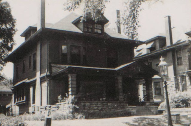 """At this home at 3434 Campbell in 1910, Mrs. J.H. Hawthorn entertained 125 guests at a """"delightful tea,."""" """"The reception room was decorated with pink carnations and pansies. The Dutch window in the dining room was filled with white peonies, which a basket of Killarney roses stood on the tables. The mantels throughout the different rooms were banked with ferns,"""" according to a newspaper report from the day."""