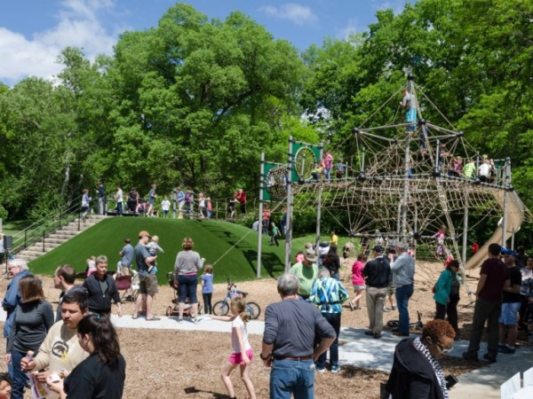 The new playground in Roanoke Park.