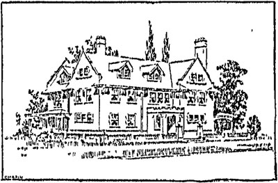 """It was news in 1902 when E.H.L. Thompson took out a permit to build a home on the northeast corner of Armour and Kenwood, seen here as it had been designed. The home was to be built """"in the English style"""" of dark brown brick with trimming of Carthage stone, with two stories and an attic."""