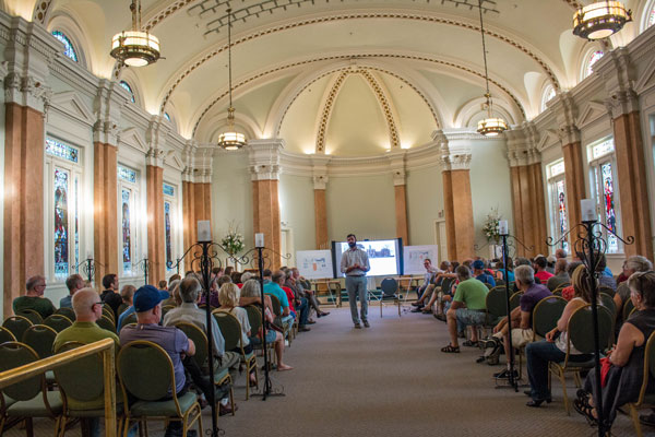 : For many community members, a meeting last night at the Loretto was a first chance to see the inside of the historic Loretto, formerly a day and boarding school run by the Sisters of Loretto. A developer discussed plans for a boutique hotel, which could include event space in the former chapel.