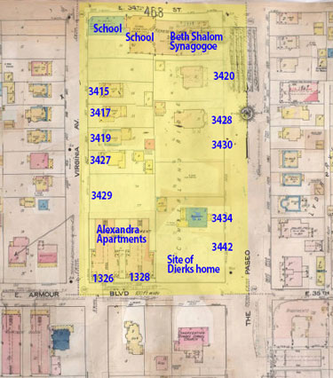 A 1909-1950 Sanborn Fire Insurance map of the block.