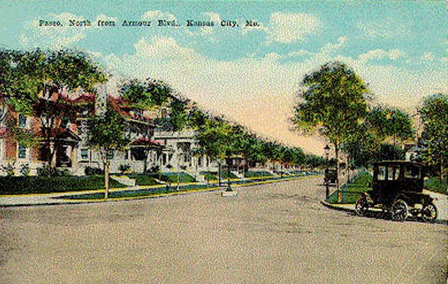 In 1915, the Paseo just north of Armour Boulevard was lined with mansions. Those lavish homes are no longer standing, but they were once home to several successful German immigrants. The house on the corner northwest corner of Armour and Paseo belonged to Hans Dierks, owner of coal and lumber companies.