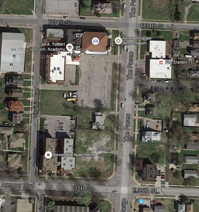 The block is now mostly vacant, as seen in this recent Google maps aerial photo.