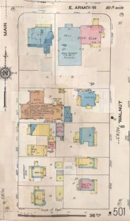 The same block in a 1907-1950 Sunburn map.