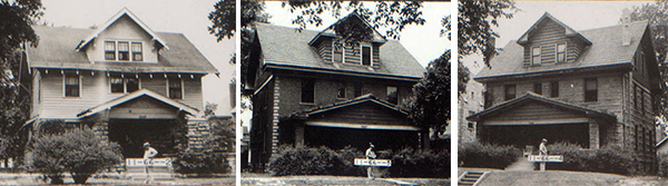 """On Kenwood between 34th and Armour Boulevard, these three single-family homes were the frequent sites of bridge parties, sewing clubs and other get-togethers in the decades immediately before these photos were taken in 1940. When the 10-room residence at 3428 Kenwood was advertised in 1928, it offered four bedrooms and a bath on the second floor and two rooms on the third floor, as well as an """"excellent location for renting rooms to school teachers"""" at the adjacent Longan school."""