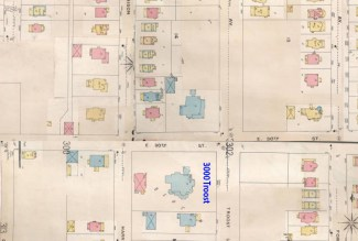 When the Smith family lived at 3000 Troost, the area was made up of large homes and was the most fashionable residence area of Kansas City.Sanborn map from 1896-1907.