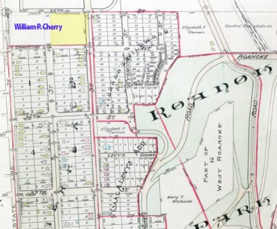 A 1907 Tuttle & Pike map shows the undeveloped block. To the south and east, new subdivisions were being laid out around Roanoke Park which the city began acquiring in 1901. This block and the one to the west of it were as yet unsubdivided and owned by W.P. Cherry.