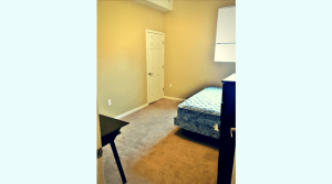 Furnished bedroom in an upscale apartment