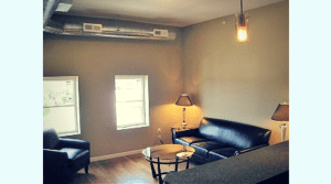 Updated, furnished, living room in campus apartment