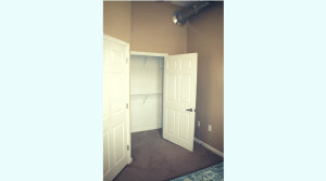 Spacious bedroom in a two bedroom apartment and large closet
