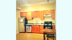 Updated kitchen in downtown Champaign apartment
