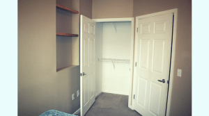 Closet with built in storage in a two bedroom apartment