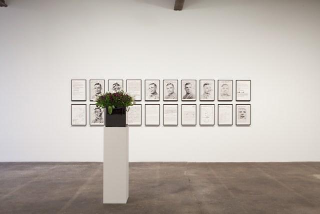 Plaisance, installation view. Foreground: Willem de Rooij, Bouquet VI, 2010. Backgroud: Henrik Olesen, A.T., 2012.