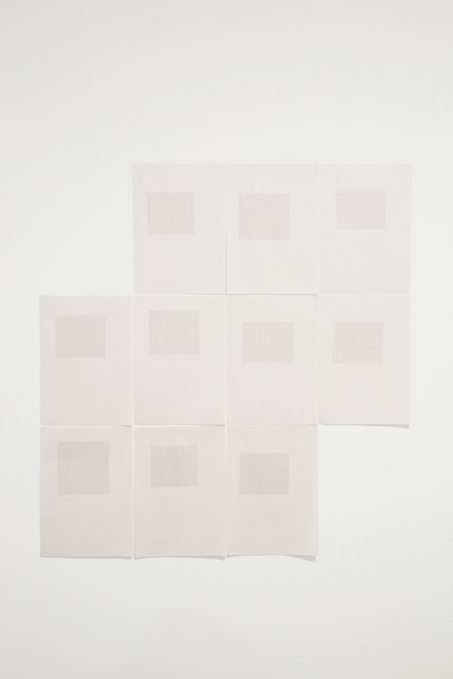 windows don't talk, 2012. Typewritten text on newsprint paper. 10 parts, 16 ½ x 11 ¾ inches each.