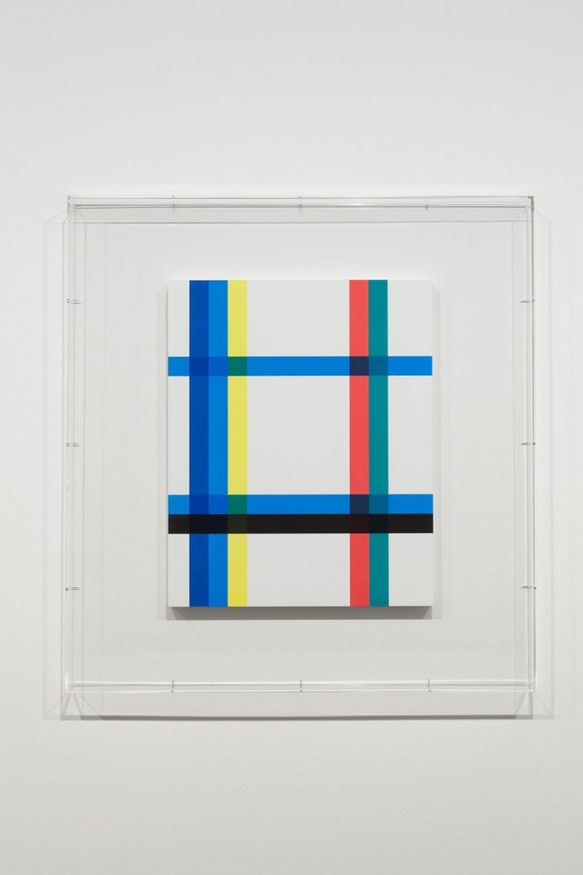 Stripped Bare (Title Page - Abstract Naiveties), 2013. Silkscreen, lacquered wood, acrylic case. 43 ⅜ x 41 ⅜ x 2 ⅝ inches.
