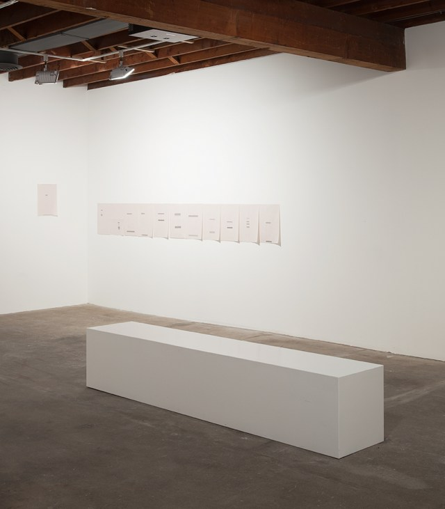 past of run, 2012. Typewritten text on newsprint paper. 12 parts, 16 ½ x 11 ¾ inches each.