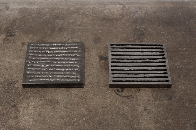 Untitled (M+, M-), 1974. Steel. ¾ x 7 x 7 inches each.