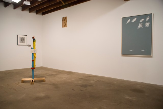 The Secret Life of Ojects, Gallery 2 installation view. Left to right: David Hammons, Spade, 1974; Jimmie Durham, I Want to Be Mice Elf, 1985-2006; Gedi Sibony, Remaining, 2006; Jeff Elrod, Hopps, 2001.