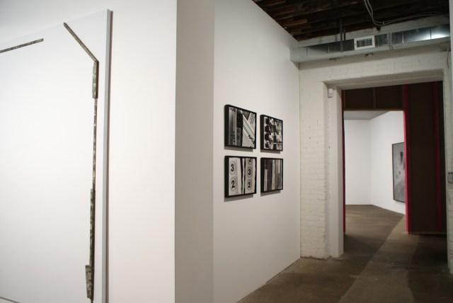 Catawampus (for H.D.), installation view. Left to right: Richard Aldrich, Untitled, 2008; Amy Granat and Matt Keegan, Seasons (Still Stills) #2, #3, #5, #1, all works 2008. Shannon Ebner, The Crooked Sign, 2006.