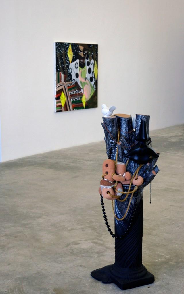 Diamond Hand Grenade, installation view. Background: Katherine Bernhardt. Foreground: Anna Sew Hoy.