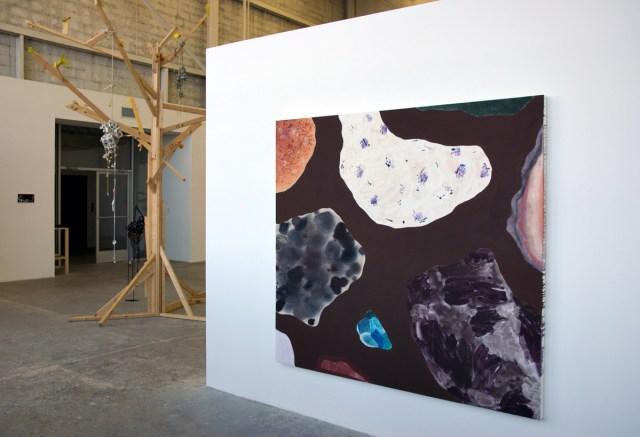 Diamond Hand Grenade, installation view. Left to right: Katherine Bernhardt, Rebecca Morris, Anna Sew Hoy, Rebecca Morris.