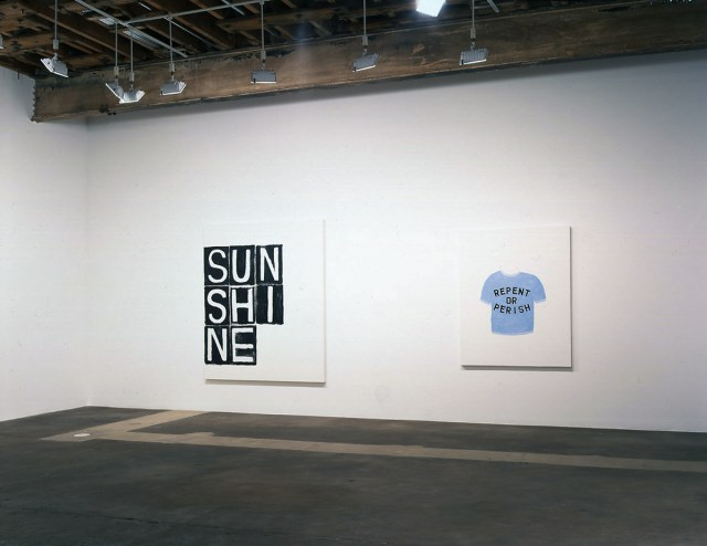 Safety Club, installation view. Left: Untitled, 2006. Oil on canvas. 78 x 66 inches. Right: Repent or Perish, 2006. Oil on canvas. 60 x 48 inches.