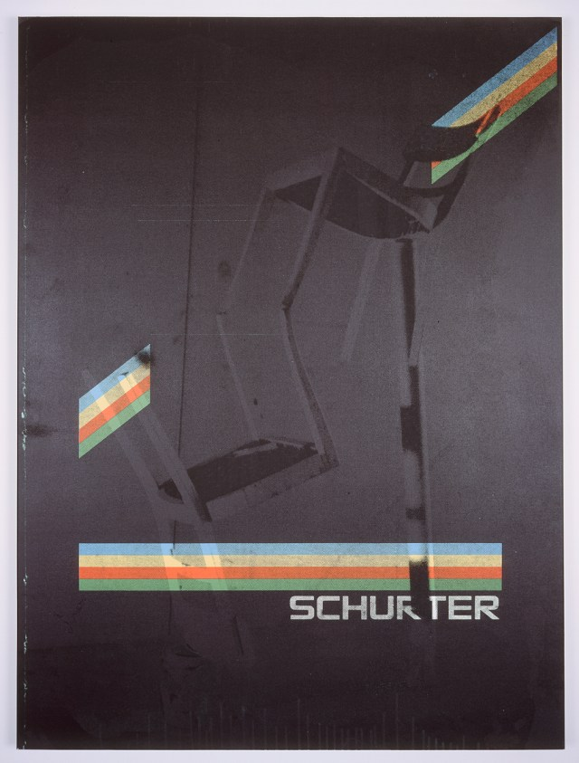 Schurter, 2004. Digital ink jet and silkscreen enamel on canvas. 36 x 48 inches.