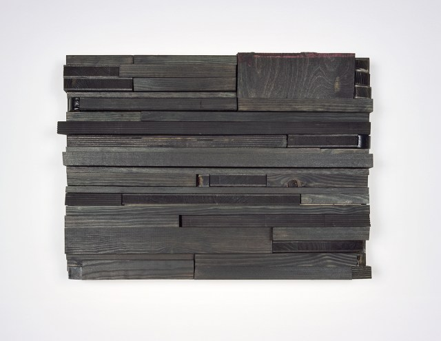 moll 3, 2005. Stain, acrylic paint, wood. 13 x 17 ½ x 2 ½ inches.