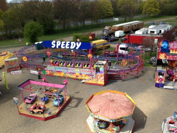 areal photo of a big apple roller coaster for sale in england.
