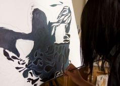 Intro art students working on Shadows: Enter the Light