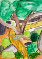 Studio art students working on Be One with Nature: Painting your Surrounding – Jane Ryder (IA)
