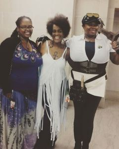"With MECCACon founder Maia ""Crown"" Williams (center)."