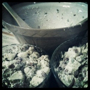 potato salad and mixing bowl