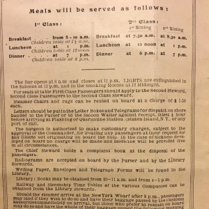 Meals and Other Information, Red Star Line, 1921