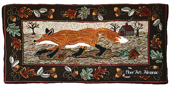 Fox designed by Kathy Morton. Hooked by Debbie Hjelm Johnson.