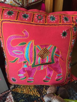 Colorful pillow from Bali.