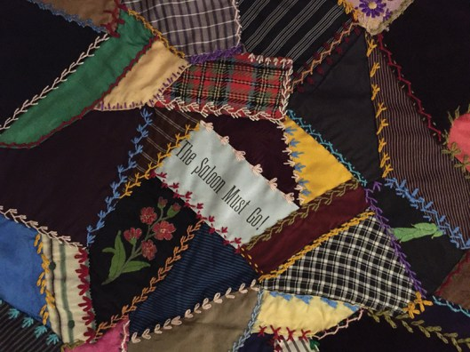 """Quilt Top from 1888--Christian Temperance Union. """"The saloon must go!"""" This quilt has never been on exhibit before."""