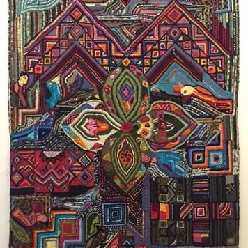 "Above: Hand hooked rug by Yolanda Calgua Morales, Guatemala. 56"" x 78"""