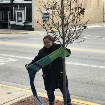 Tammie Strause yarn bombing a city owned tree - Cedarburg, WI