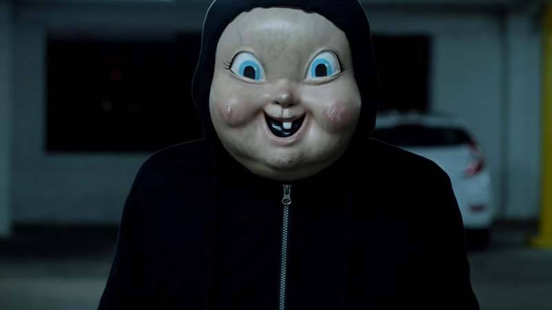 """A college student is killed by this creepy-faced killer —but resurrected each day until she can identify the culprit — in """"Happy Death Day,"""" a 2017 Universal Pictures release."""