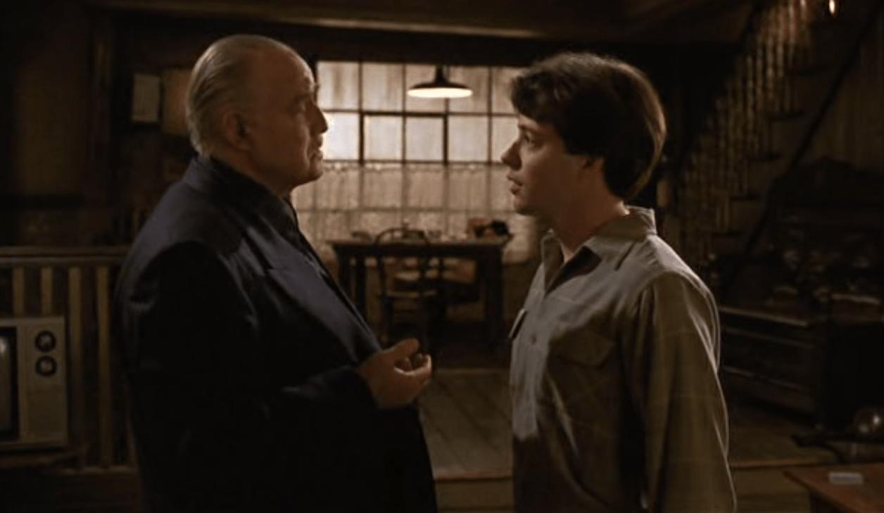 "Marlon Brando and Matthew Broderick star in the 1990 film ""The Freshman."""
