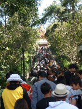 Crowded staircase on the way up to the temple.