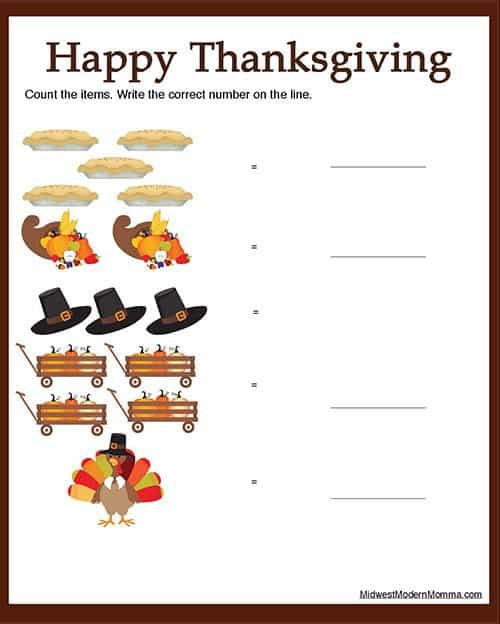 Free Thanksgiving worksheets: Counting 1 to 5