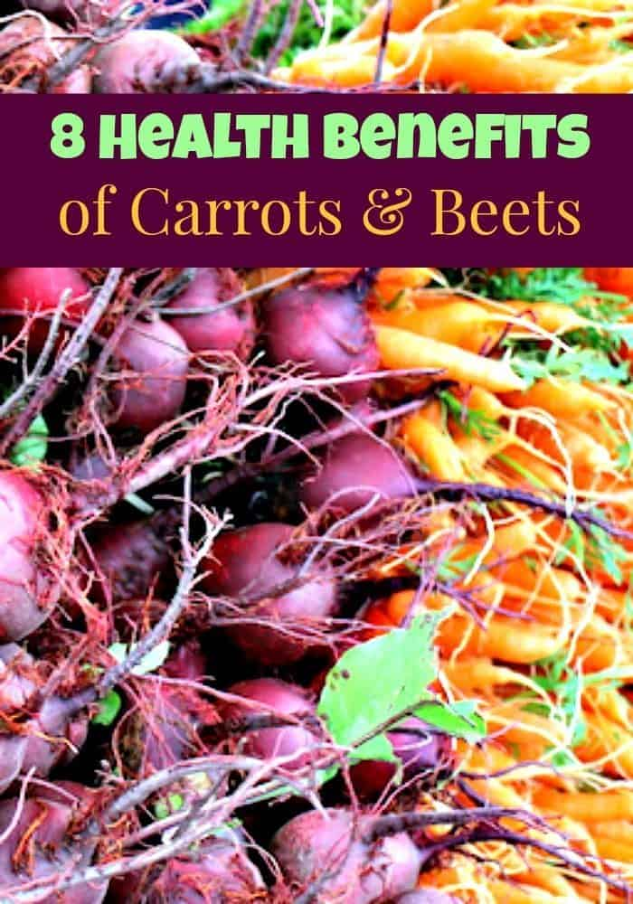 Here are 8 health benefits of carrots & beets that give you great long term nutrition! Using carrots and beets on a regular basis is great for health!