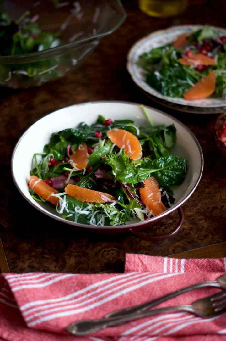 Winter Green Salad with Pomegranate & Orange | via Midwest Nice Blog
