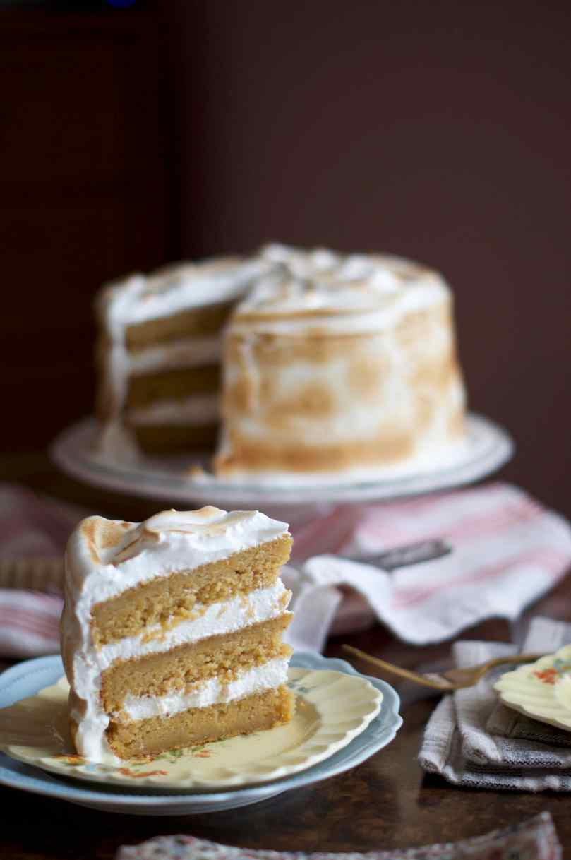 Sweet Potato Cake with Toasted Marshmallow Frosting | via Midwest Nice Blog