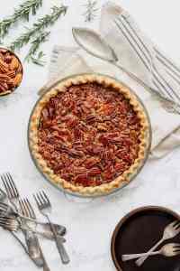 Maple Bourbon Pecan Pie in a Rosemary Crust