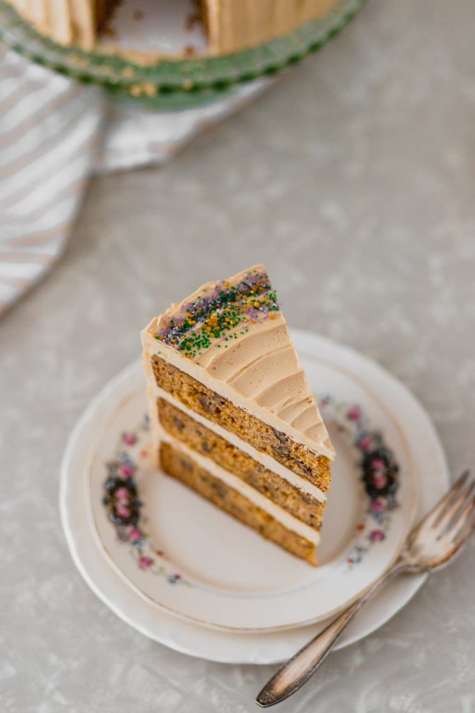 Close up of King Cake Layer Cake with Brown Sugar Swiss Meringue Buttercream